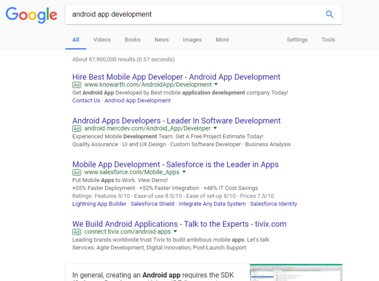 Google USSERP for «Android App Development»