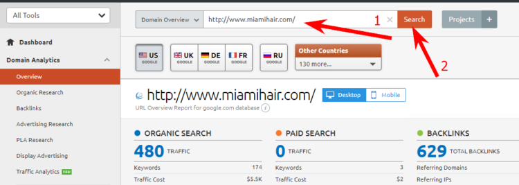 Semrush audit of www.miamihair