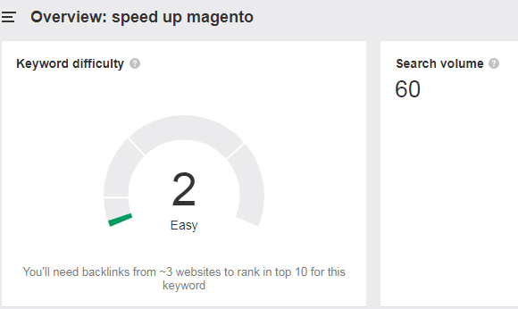 Search volume and keyword difficulty for the keyword «speed upmagento» according toAhrefs