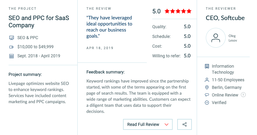 One of several kind client reviews they have gathered, providing potential consumers with a quick glance at a client's experience with us on a project