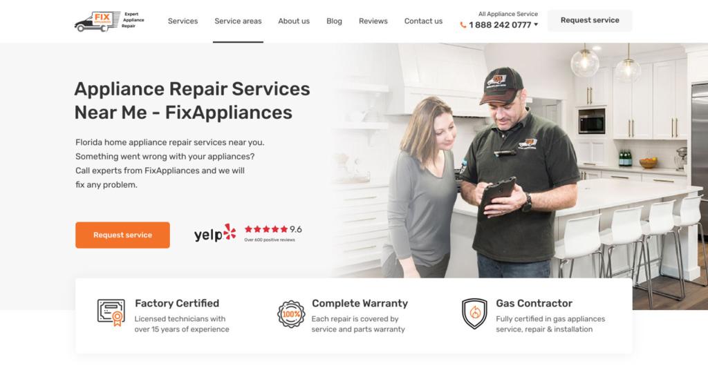 Design, development, and digital marketing of home appliance repair website. Location - Canada.