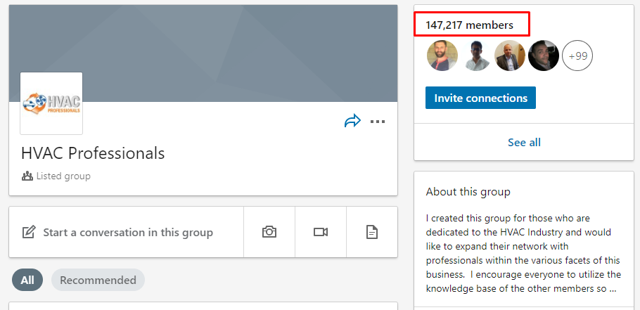 HVAC social network group
