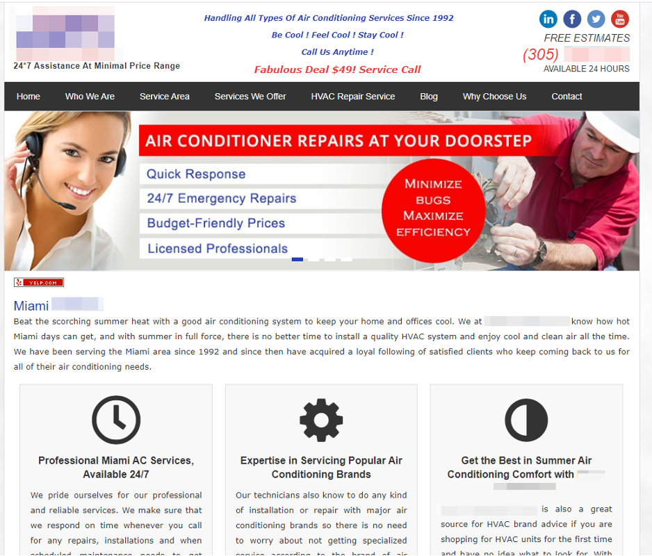 Website design for HVAC Business