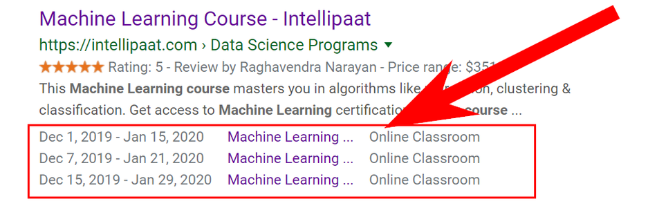 An example of the Intellipaat.com snippet with the Event microdata markup