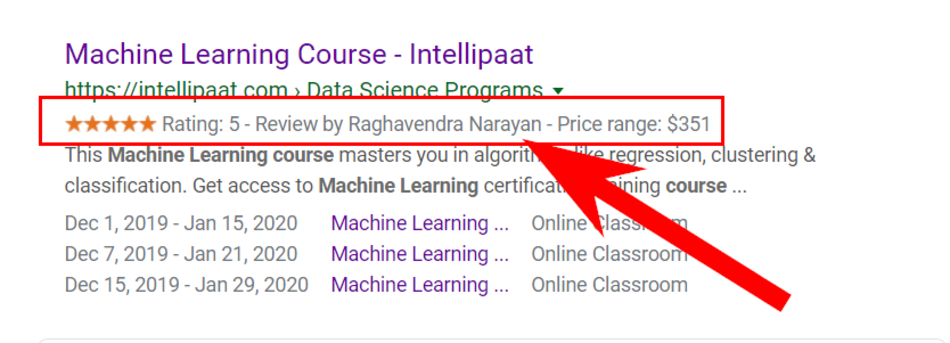 An example of the Intellipaat.com snippet with the review snippet microdata markup