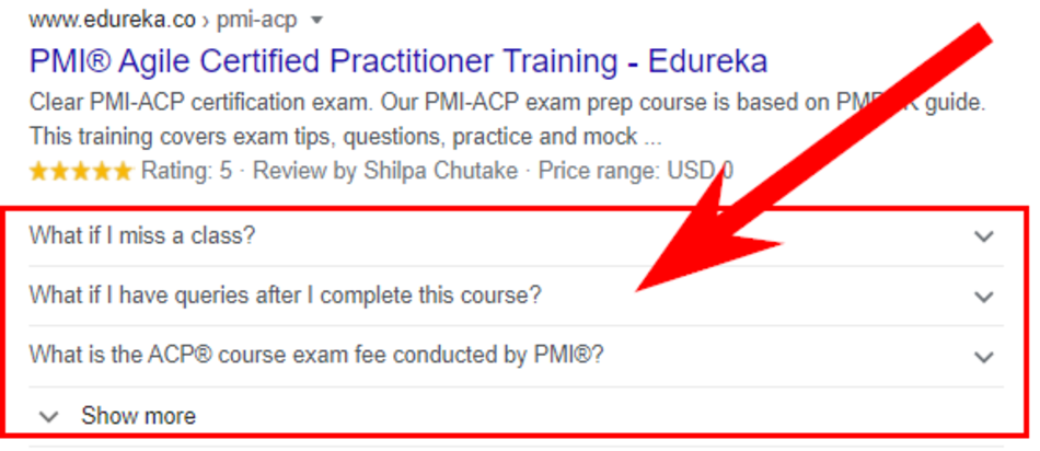 An example of the Edureka.co snippet with the FAQ microdata markup