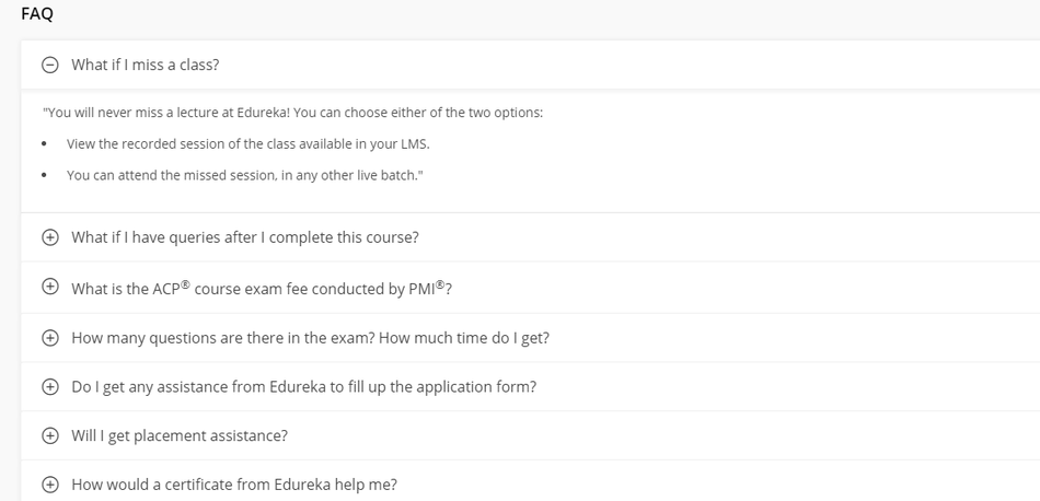 An example of the FAQ block on the Edureka.co website page